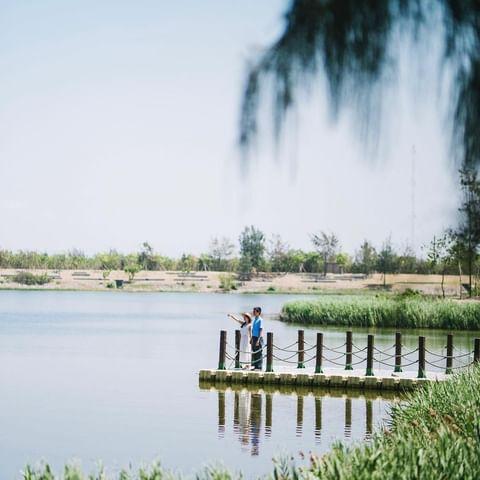 #etfun玩雲林 雲林版日月潭之稱的「椬梧滯洪池」,因颱風來襲造成海水倒灌,意外造就濕地廣大的景觀池 一整片悠靜的湖光水色,自然生態豐富,設有環湖木棧道與觀景台...